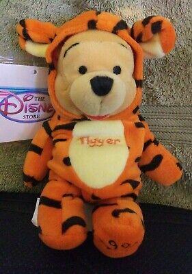 "NEW w/tag+protector- Disney Store - POOH AS TIGGER- 8"" Bean Bag Plush Halloween"