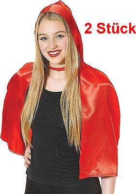 2 sehr schöne Rotkäppchen Cape Umhang Rot Märchen Film - Cape Kostüm Zubehör