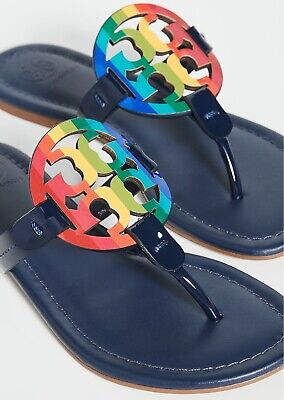 NEW $198 TORY BURCH 9 Miller Navy Leather Rainbow T-Logo Flat SHOES SANDALS