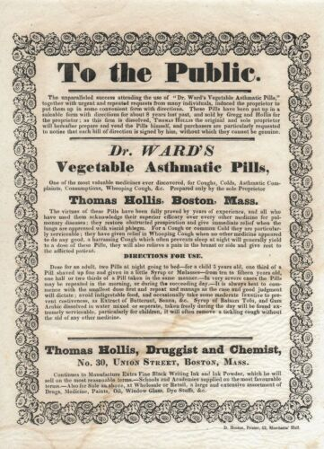 Antique 1834 BROADSIDE Medical Apothecary DR WARD