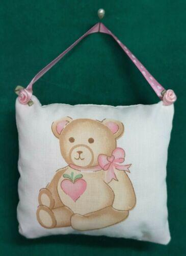 Handmade Fabric NURSERY DOOR KNOB HANGER Teddy Bear w/Pink Ribbon Hanger