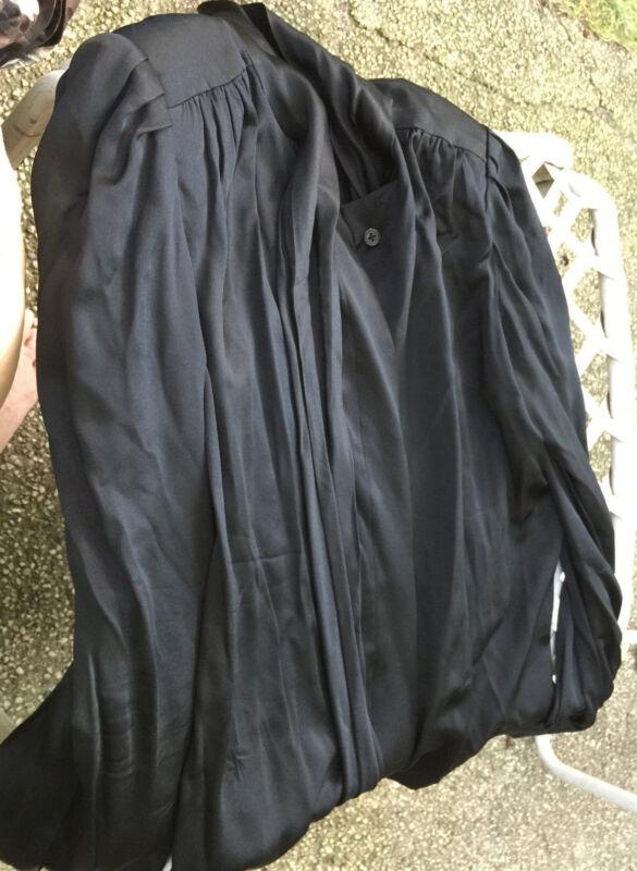 Solid  Black Silk like  Blouse Sz M Vintage Casual Long Sleeve