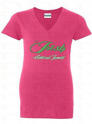 - I'm Irish Sweet And Innocent WOMEN V-NECK T-Shirt St Patricks Day Drunk Shirt