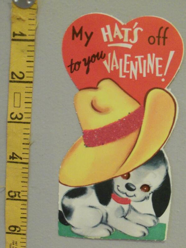 Vtg Valentine Card Puppy Dog Ten Gallon Cowboy Hat