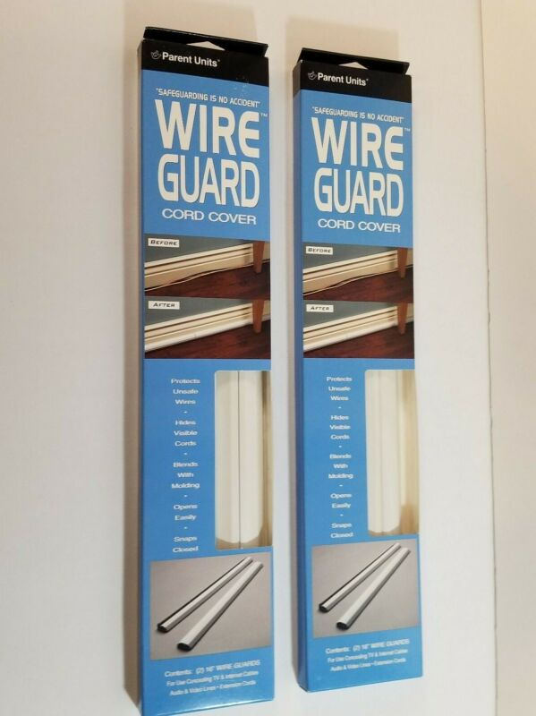 """2 Parent Unit Wire Guard 32""""  Electric Cord Cover White Molding Babyproofing Lot"""