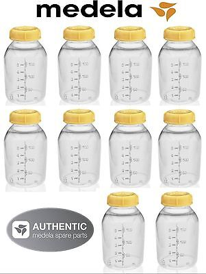 NEW! 10 MEDELA BREASTMILK COLLECTION STORAGE FEEDING BOTTLE SET w/lid 5oz /150ml