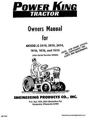 Power King 1614 1616 1618 2414 2416 2418 Tractor Operator Manual 98-7114