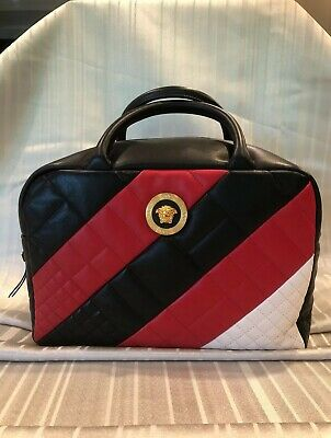 VERSACE Black/Red/White Quilted Medusa Large Satchel/Shoulder Strap Bag NWT