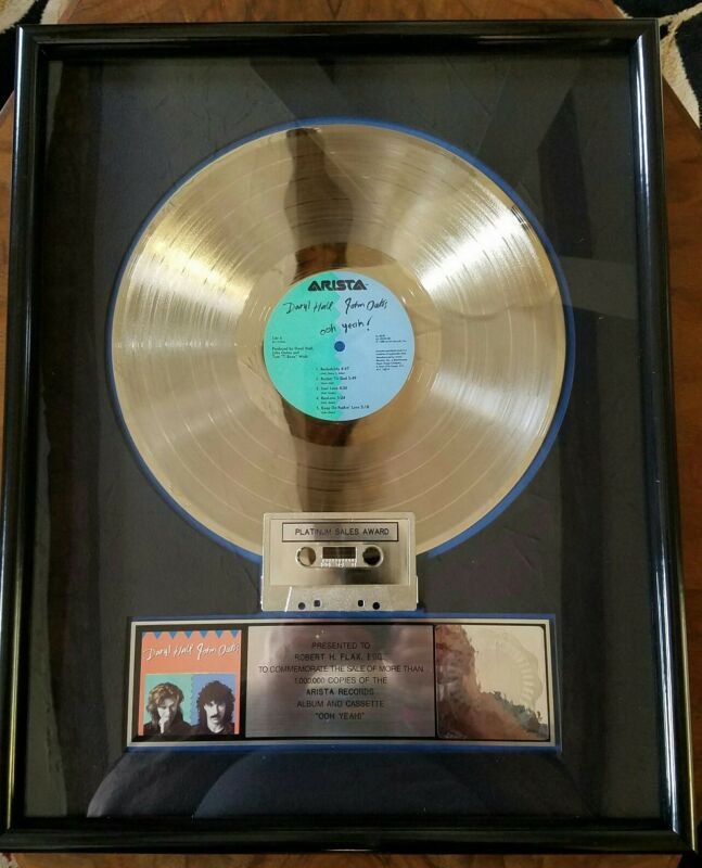 HALL & OATS-OHH YEA-ARISTA-1988-ONE OF A KIND-FRAMED-REAL DEAL-PLATINUM-LP-RIAA