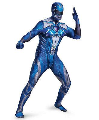 Mens Blue Power Rangers Halloween Costume XL-2X Adult Cosplay](Power Rangers Costume Halloween)
