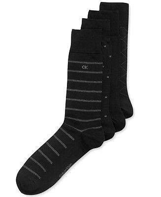 $45 Calvin Klein Men'S 4-Pair Pack Black Gray Cotton Crew Dress Socks Shoe 7-12