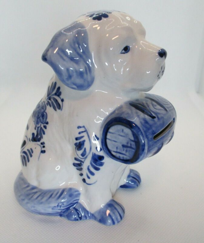 St. Bernard Delft Blue & White Hand Painted Vintage Dog Bank Porcelain 5 in.