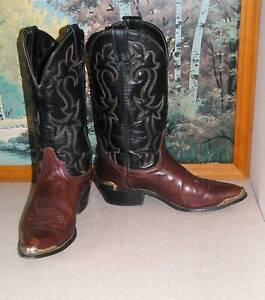 LAREDO Brown/Black COWBOY BOOTS w RANDS mens sz US 8EE Aus 7.5