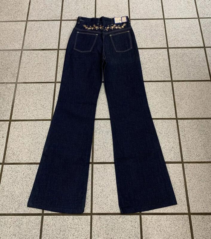 Vintage Girls Bell Bottom Jeans Disco Hippie 26 x 29 Dark Flare 1970s NEW Sz 12