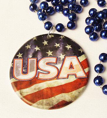 - USA Flag Mardi Gras Bead Necklace Patriot America Stars Stripes Faded Glory