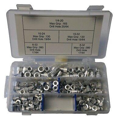 Rivet Nut Kit Ribbed Aluminum 125 Pcs Sae Rivnuts Riv Nuts Nutsert Nutserts