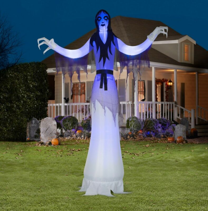 12ft Tall Airblown Inflatable Giant Short Circuit Female Ghost Reaper Yard Prop