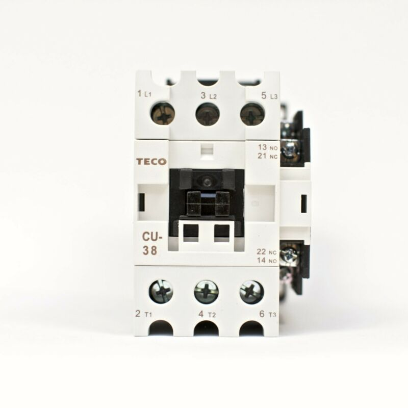 TECO CU-38 magnetic contactor, 55A, 3 phase, 110v coil, 3A1a1b (NO and NC)