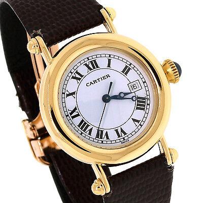 Cartier 18K Yellow Gold Diabolo/Diablo Deployant Clasp Date Quartz Watch 14200