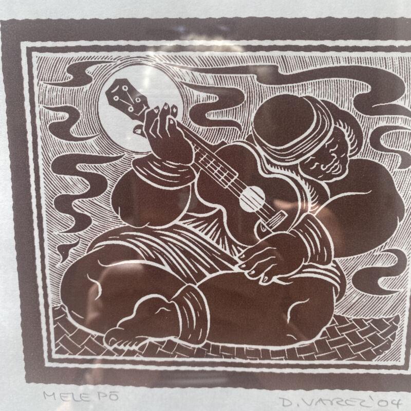 "Vintage DIETRICH VAREZ Hawaii; Blockprint ""Mele"" 2004 Signed Framed Matted Rare"