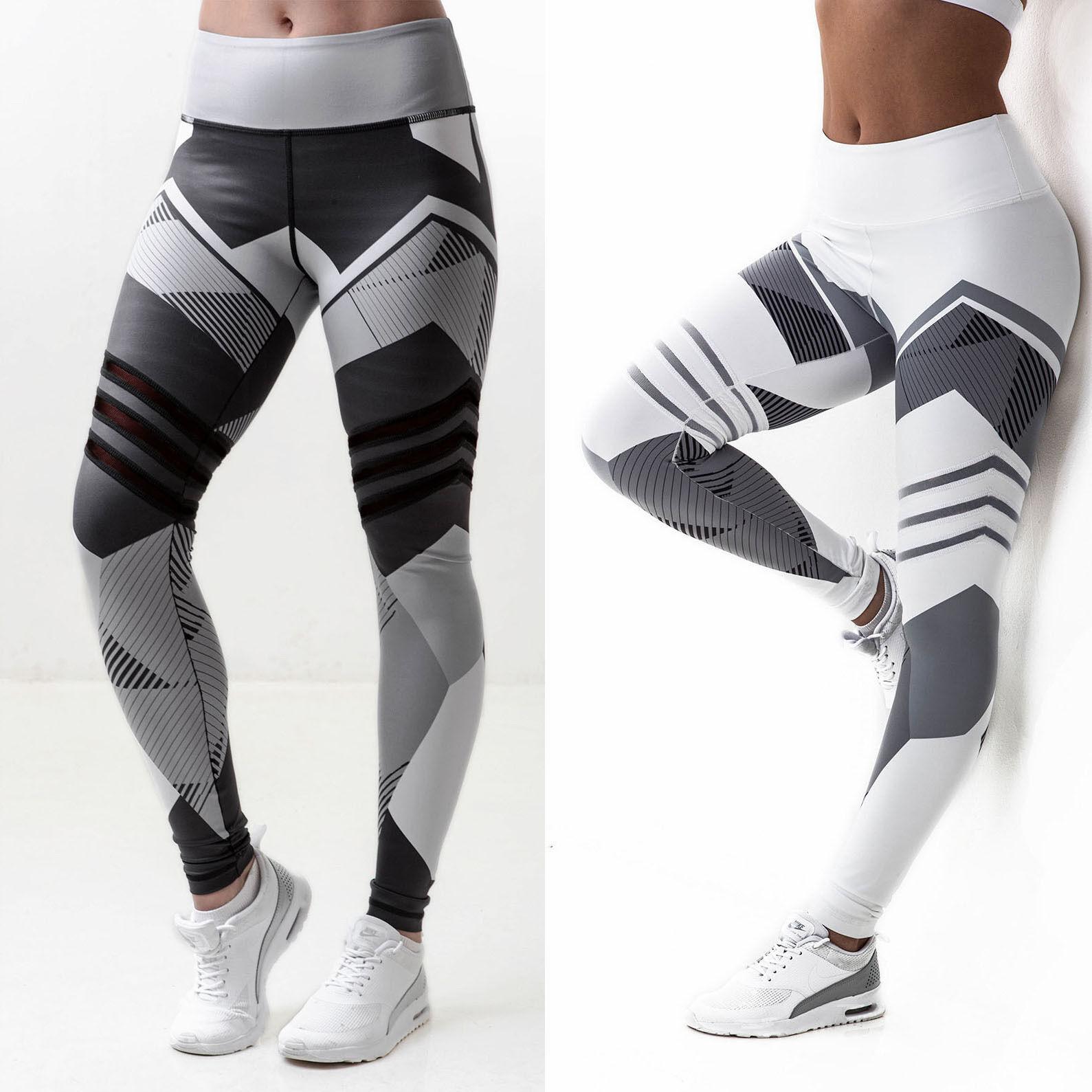 Damen Fitness Leggings Running Stretch Sports High Waist Hose Trainingshose L//P