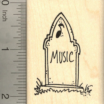 Halloween Tombstone Rubber Stamp, with Gravestone Epitaph for Music H22405  WM - Gravestones For Halloween