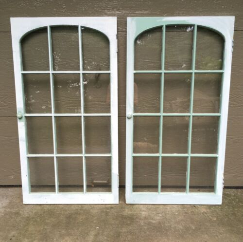 ARCHED CASEMENT Glass Window ARCHITECTURAL SALVAGE Cabinet Door Vintage VTG ANTQ