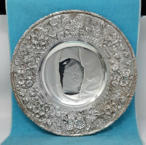 "S. Kirk & Son Co. 925/1000 Sterling Repousse 11"" Footed Plate Armorial"