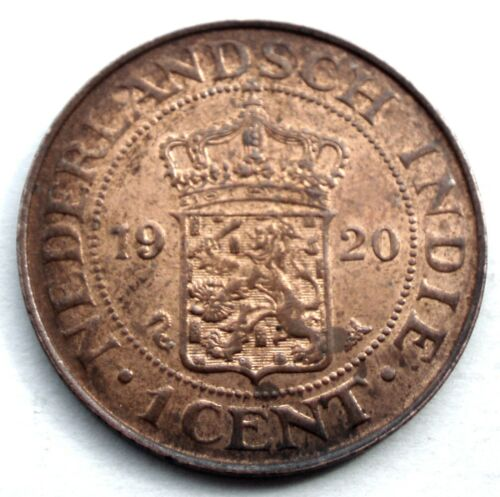 NETHERLANDS EAST INDIES 1 CENT 1920 KM#315 Wilhelmina I. MM9.1
