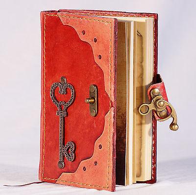Notizbuch Leder Schlüssel rot Tagebuch liniert mit Verschluß Poesiealbum Diary