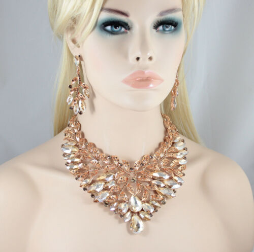 Large Leaves Austrian Crystal Rhinestone Bib Necklace Earrings Set Prom N950