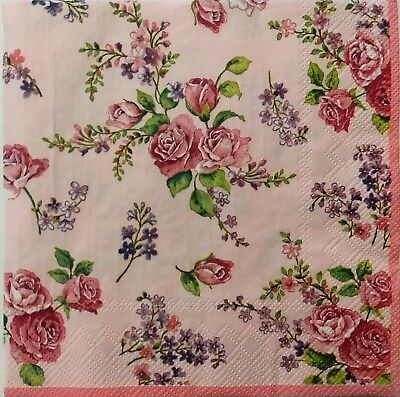 - ROSES FLORAL PINK 2 single LUNCH SIZE paper napkins for decoupage 3-ply
