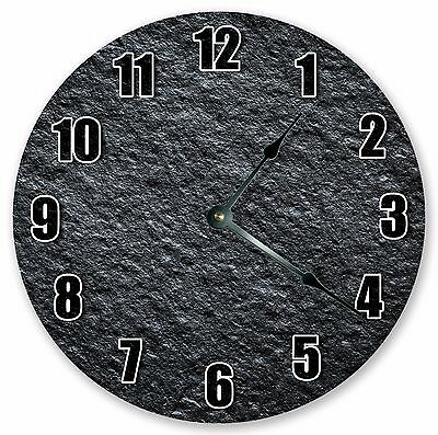 Home Décor Clocks Modern Black Silent Battery CHARCOAL ROUGH STONE CLOCK 3232