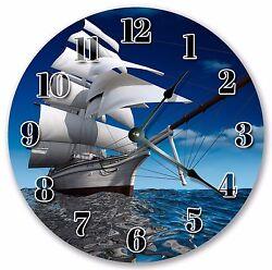 Large Wall Clock Home Décor Sailors Gift SAILBOAT BLUE OCEAN Beach CLOCK 3017