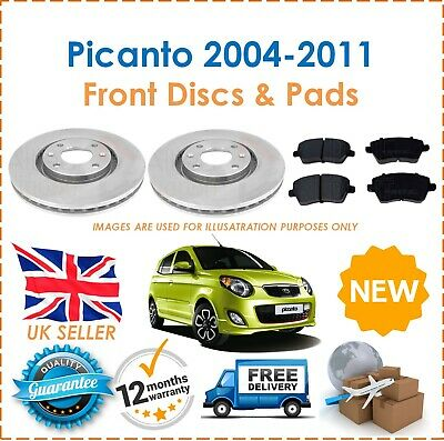 For Kia Picanto 2004-2011 Two Front Vented 241MM Brake Discs & Brake Pads Set