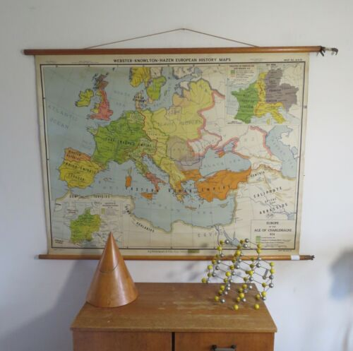 ORIGINAL VINTAGE MAP OF  EUROPE AT THE TIME OF CHARLEMAGNE CHARLES 1ST OF FRANKS