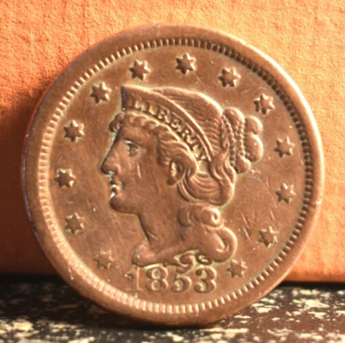 Very Nice 1853 Braided Hair Large Cent