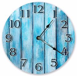 10.5 POWDERED BLUE CYAN WOOD CLOCK - Large 10.5 Wall Clock Home Décor - 3145