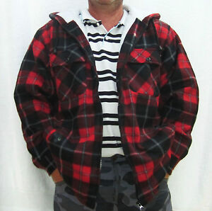 Mens check hooded zip up fleece lined lumber shirt jacket for Men s hooded flannel shirt jacket