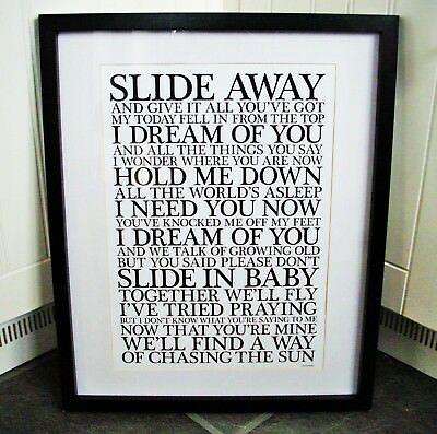 Oasis /  Slide Away A3 size typography lyric art print/poster