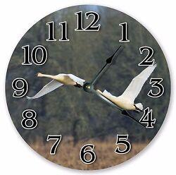 10.5 TRUMPETER SWAN BIRD CLOCK - Large 10.5 Wall Clock Home Décor Clock - 3115