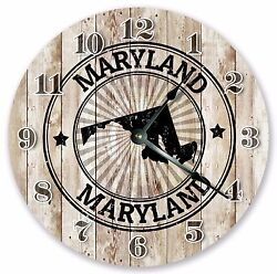 10.5 MARYLAND STATE RUBBER STAMP CLOCK Large 10.5 Wall Clock - Home Décor 3283