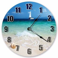 10.5 OCEAN WITH SAILBOAT - Large 10.5 Wall Clock - Home Décor Clock - 3048