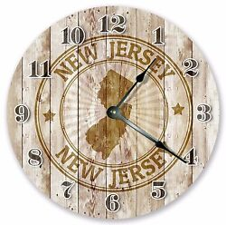 10.5 NEW JERSEY RUBBER STAMP CLOCK - Large 10.5 Wall Clock - Home Décor - 3240