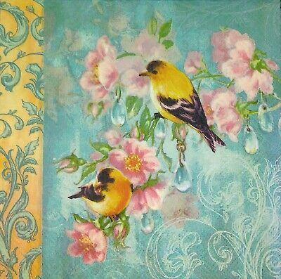 3 x Single Paper Napkins For Decoupage Flowers Yellow Birds Light Blue Teal M188