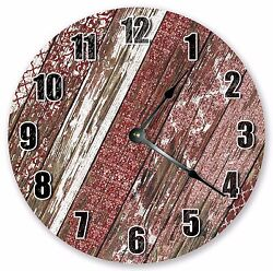10.5 RED WORN WOOD CLOCK - Large 10.5 Wall Clock - Home Décor Clock - 3108