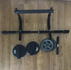 Chin-up bar, ab roller & push-up grips