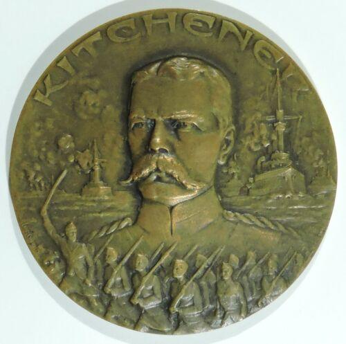 WWI British Field Marshal Kitchener Bronze Table Medal Huguenin Freres & Co.