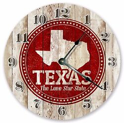 10.5 TEXAS RUBBER STAMP CLOCK - Large 10.5 Wall Clock - Home Décor Clock 3243