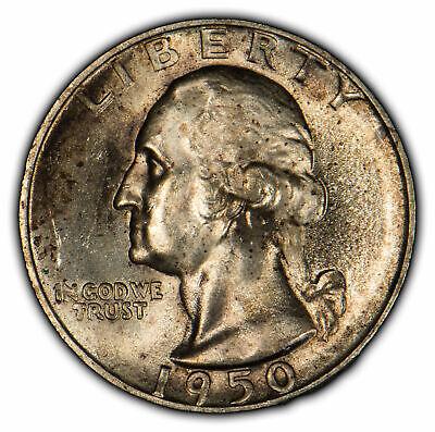 1950-S 25c Silver Washington Quarter - Strong Luster - Light Toning - SKU-Y1825 - $11.50